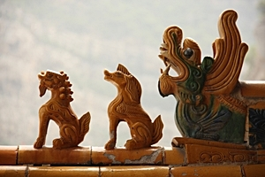 Animal carvings on the roof of a building at the Hanging Temple, Hanging Monastery, or Xuankong Temple on Mount Heng (恒山), China
