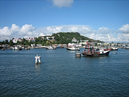 A view of boats in Hong Kong's Cheung Chau Harbor from the ferry