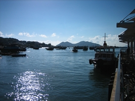 Boats near the ferry pier in Hong Kong's Cheung Chau Harbour