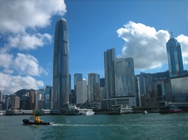A view of the skyscrapers and wharves of downtown Hong Kong from the Cheung Chau ferry