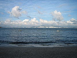 A distant view of Hong Kong Island from Cheung Chau Beach