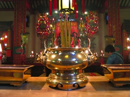 A gold incense vessel in Hong Kong's Man Mo Temple