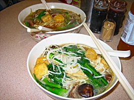 Sichuan-style rice noodles at a restaurant in Hong Kong's Kowloon District
