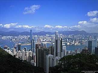 view of Victoria Harbour and downtown Hong Kong from Victoria Peak - desktop wallpaper - 1024×768 - small