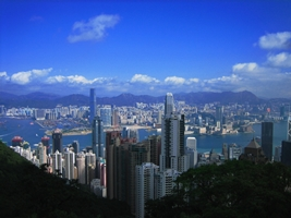 A view of downtown Hong Kong, Victoria Harbour, and Kowloon from outside the Peak Tower