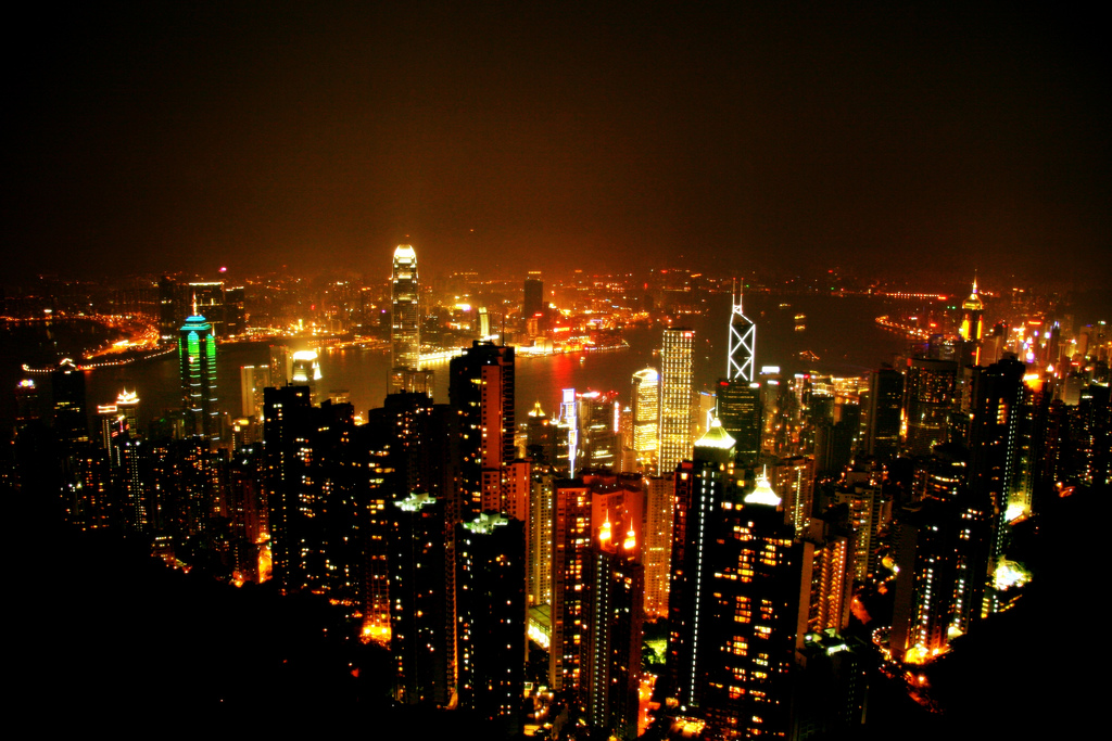 A night view of downtown Hong Kong, Victoria Harbour, and Kowloon from Victoria Peak