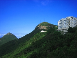 The twin summits at the top of Victoria Peak in Hong Kong, China