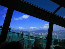 A view of downtown Hong Kong Island, Victoria Harbour, and Kowloon from the Peak Tram