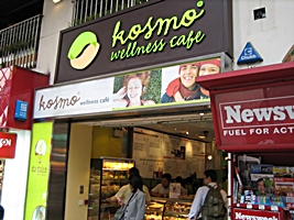 The storefront of the Kosmo Wellness Cafe in downtown Hong Kong's Central District
