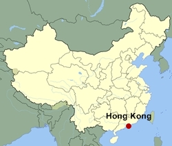 Map of China showing the location of Hong Kong