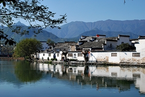 Traditional buildings on South Lake in Hong Village, near Huangshan, China