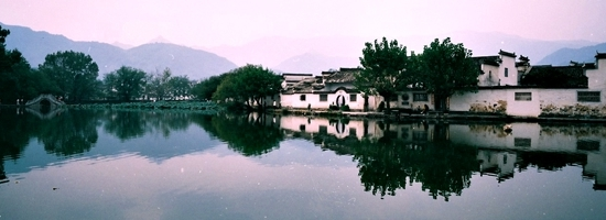 Panoramic view of South Lake in Hong Village (Hong Cun, 宏村) near Huangshan (Yellow Mountain), China