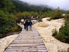 A walkway in the Huanglong area of Sichuan Province, China