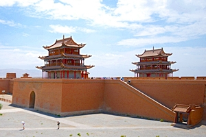 Fortress at Jiayuguan, the western end of the Great Wall of China