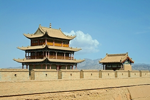 Tower atop the wall at Jiayuguan, the western end of the Great Wall of China