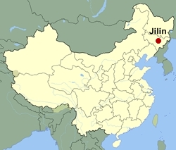 Map of China showing the location of Jilin City