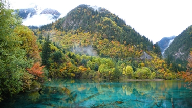 A hill at the edge of the blue water of Wuhua Hai in Jiuzhaigou (九寨沟), Sichuan Province, China