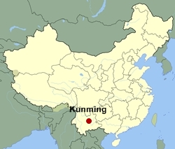 Map of China showing the location of Kunming