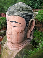 A profile view of the giant head of the Leshan Giant Buddha (乐山大佛) in Sichuan Province, China