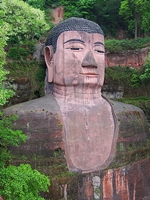 The head and torso of the Leshan Giant Buddha (乐山大佛) in Sichuan Province, China