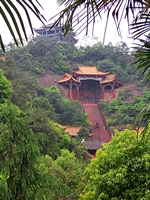 Temples among trees on a hill near the Leshan Giant Buddha (乐山大佛) in Sichuan Province, China