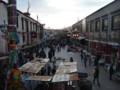Pedestrians and vendors on Barkhor Street in Lhasa (拉萨), Tibet, China