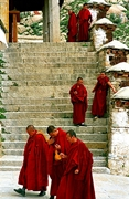 Monks in red robes at Drepung Monastery (哲蚌寺) in Lhasa (拉萨), Tibet, China