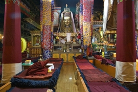 A prayer hall in Jokhang Temple (大昭寺) in Lhasa (拉萨), Tibet, China