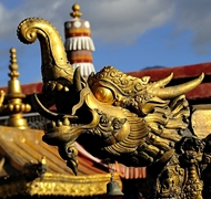 Gilt ornament on the roof of Jokhang Temple (大昭寺) in Lhasa (拉萨), Tibet, China