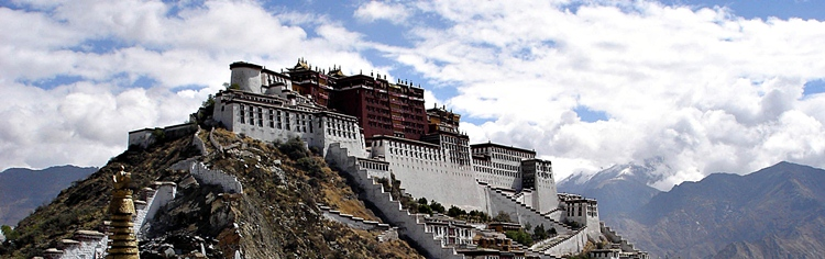 A panoramic view of Potala Palace (布达拉宫) on a hill in Lhasa (拉萨), Tibet, China