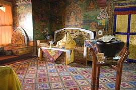 A traditionally furnished and decorated chamber in Potala Palace (布达拉宫) in Lhasa (拉萨), Tibet, China