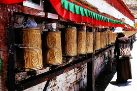Prayer wheels at Potala Palace (布达拉宫) in Lhasa (拉萨), Tibet, China