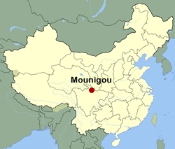 Map of China showing the location of Mounigou