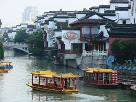 Boats on the Qinhaui River at Nanjing's Confucius Temple Bazaar