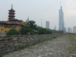 View of Jiming Temple and Zifeng Tower from the Ming City Wall in Nanjing, China