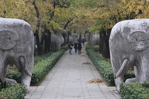 Statues line the Elephant Road section of the Sacred Way at the Ming Xiaoling Mausoleum in Nanjing, China