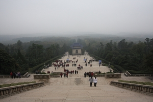 A view down the long stairway at the Sun Yat-sen Mausoleum in Nanjing, China