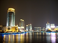 Lights along the river in downtown Ningbo at night