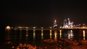 Qingdao nightscape - Zhan Bridge and the downtown skyline