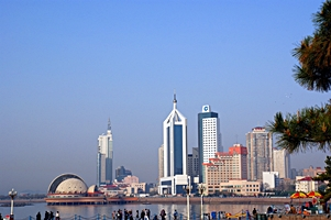 Tall buildings line the waterfront in downtown Qingdao (青岛), China