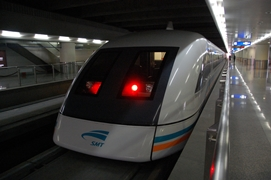 A closeup of the front of the Maglev Train in Shanghai, China