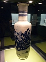 Underglaze Blue Landscape Vase in the Ceramics Gallery of the Shanghai Museum