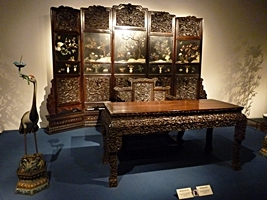 Rectangular Table and Throne Chair in the Furniture Gallery of the Shanghai Museum