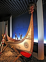 Wood-Carved Fishing Boat in the Minority Nationalities Gallery of the Shanghai Museum