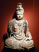 Wooden Bodhisattva painted in color and gold in the Sculpture Gallery of the Shanghai Museum