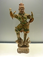 Polychrome-Glazed Pottery Statue of Heavenly Guardian in the Sculpture Gallery of the Shanghai Museum