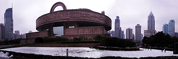 Snow lies in the ground at the Shanghai Museum