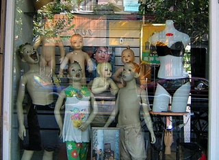 Strange mannequins in a Shanghai shop window display