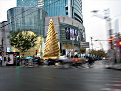 A gold Christmas tree outside a mall in Shanghai, China, in 2009