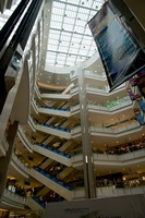 A view upward at the skylight in the atrium of a multistory Western-style shopping mall in Shanghai, China